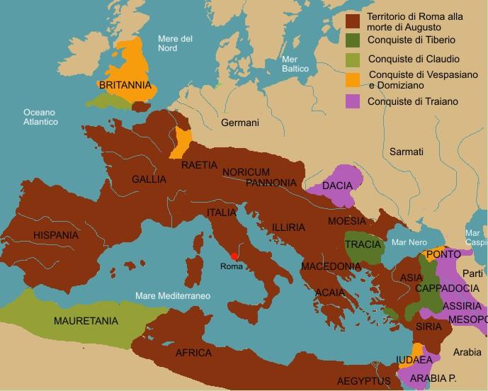 Cartina Italia Romana.L Impero Romano